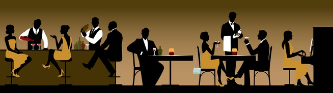Silhouettes of a group of people holiday makers in a restaurant or bar Stock vector illustration